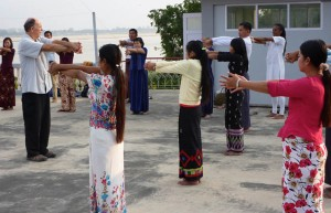 Teaching Qi Gong at Wachet Hospital in Burma.